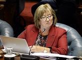 Ministra Muñoz realizando su exposición en la Comisión del Senado