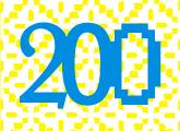 Número 200 en fondo de color amarillo